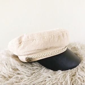 The Hatters Lieutenant Cream Leather Cap Hat